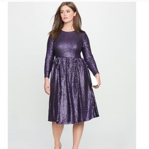 NWT Eloquii Purple Sequin Long Sleeve Formal Dress